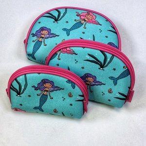 Handbags - Set of 3 Mermaid Cosmetic Bags